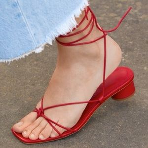 Zara Red Heeled Leather Strappy Sandals 41 10 NWT